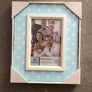 New white polka dot picture frame